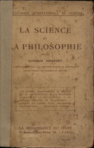 Bibliotheque Internationale de Critique - La Science et La Philosophie
