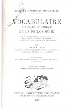 Vocabulaire: Technique et Critique de La Philosophie