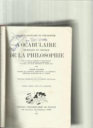 Vocabulaire Technique et Critique de La Philosophie*