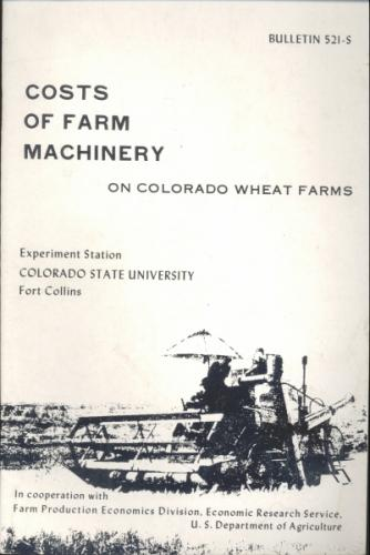 Cost of Farm Machinery on Colorado Wheat Farms